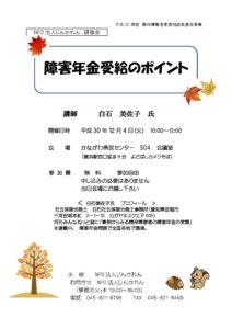 12月4日開催 NPO法人じんかれん研修会「障害年金受給のポイント」――講師:白石美佐子 氏